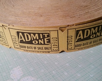 20 Rare Vintage Yellow Admit One Tickets | Ephemera | Tickets Lot | Old Tickets | Found Paper