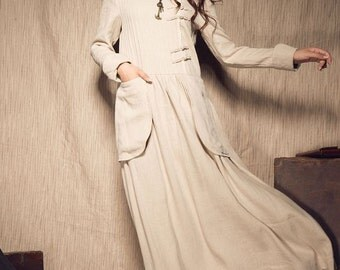 Linen Winter Dress in Beige, Long Dress, Maxi Dress with Pockets, Wedding Dress, Formal Dress, Long Caftan Dress, Custom Plus Size