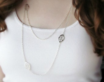 Long Layered Silver Necklace - Silver Leaf Charms on Dainty Silver Plated Sterling Silver Chain - Fall Necklace
