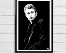 James Dean Hollywood Icon Pop Art Poster Print #2 Size 11 x 17