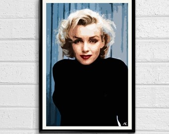 Marilyn Monroe Hollywood Icon Illustration, Pop Art, Home Decor, Poster, Print Canvas