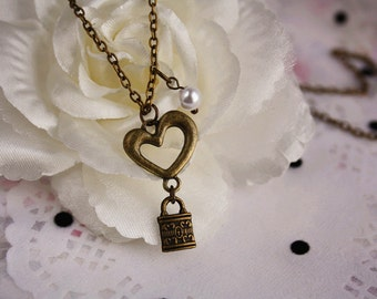 Love forever lock charm necklace cute heart gift box romantic pendant vintage bronze jewellery accessory