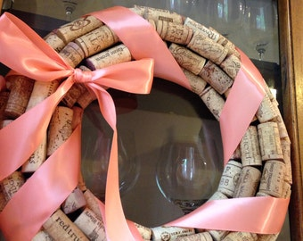 PICK YOUR COLOR! The Original handmade wine cork wreath with ribbon