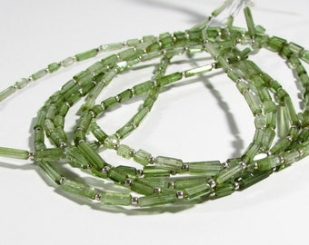 Bright Green Tourmaline Faceted Tube Beads 4mm - 10mm