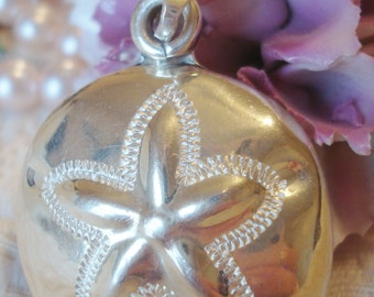 Vintage Sterling Sand Dollar Pendant 925 Mexico Silver Large w Solid Backing