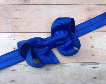Blue headband with 3 inch blue bow - blue bow headband, baby headband, newborn headband, baby bow headband, blue headband, baby girl