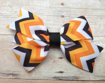 3 inch Halloween chevron hair bow - orange & black bow, chevron bow, fall bow