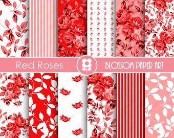 Red Digital Paper Red Floral Paper Pack Red Scrapbook Paper Pack, Scrapbooking - INSTANT DOWNLOAD  - 1791