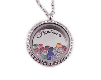 Personalized Grandma Locket Necklace - Engraved Stainless Steel - Memory Locket - Floating Charm Locket - Grandma Jewelry - Gift Mom - 1085