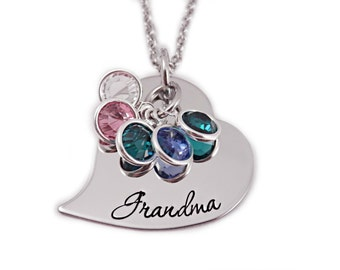 Personalized Grandma Heart Necklace - Hand Stamped Jewelry -  Personalized Jewelry - Gift for Grandma - Birthstone - Mother Jewelry - Custom