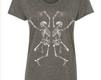 Womens Dancing SKELETONS Bohemian Slouchy T shirt screen print Top Alternative Apparel S M L  More colors