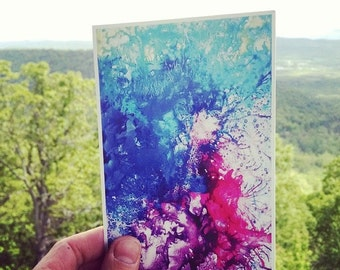 "P59 - ""Motley Hue"" - Abstract Art Blue Violet Postcard"