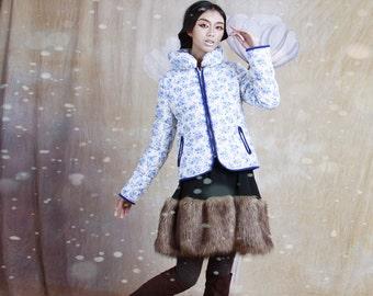 60% off on sale----warm, wool, cotton-padded jacket / coat blue coat