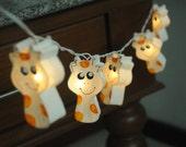 20 x handmade white giraffe animal cartoon cute lantern string light paper hand draw paint art bedroom decoration kid room nursery light