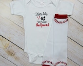Baseball Baby Boy Bodysuit or Gown With Leg Warmers Options Take Me out to the Ballpark Newborn Dad Gift Baby Boy Clothing