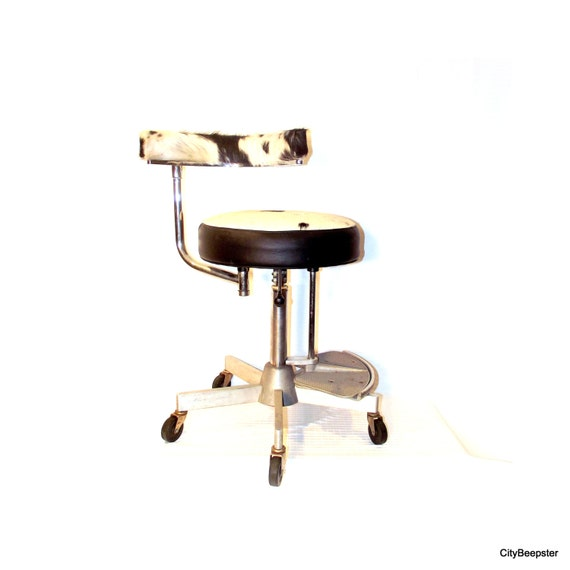 Vintage Industrial Upcycled Chair Adjustable Metal Stool