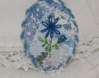 Embroidered Embellished Brooch - Blue embroidered flower on patchwork