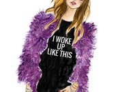I Woke Up Like This - Beyonce / Blogger Fashion Watercolor Illustration Print