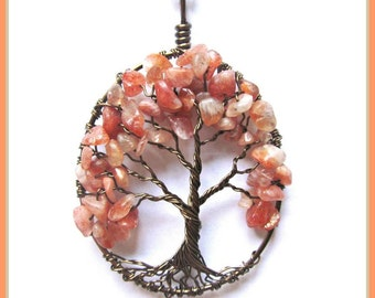 Sunstone Tree of Life Necklace- Autumn Beauty, Orange, Fall, Energy, Power, Midwife, Doula