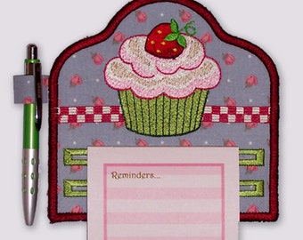 Cute Cupcake Embroidered Notepad Holder