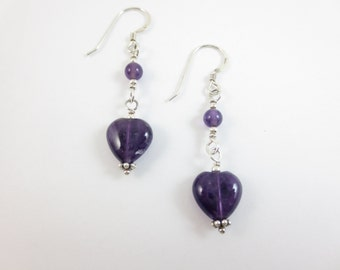 Amethyst Dangle Heart Earrings at 4 & 8 mm on Sterling Silver or 14k Gold Fill
