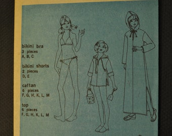 Simplicity 6994 Girls' Jiffy Hooded Caftan or Top & Bikini Size 7 or 8 1970s Uncut Vintage Sewing Pattern Year 1975