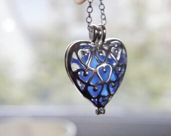 Sea glass heart necklace, beach glass locket, blue sea glass, heart necklace, Valentine necklace, heart locket, filigree locket