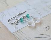 Sterling Silver Calla Lily Dangle Earrings - Everyday Flower Earrings - Crystal Earrings