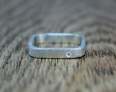 Square Ring, Alternative Engagement Ring, White Diamond, Flush, Conflict Free, Ethical, Eco-Friendly, Recycled Silver, April Birthstone