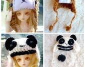 BJD crochet hat for  MSD, Yo SD - Choose your own: Bear or Panda hat