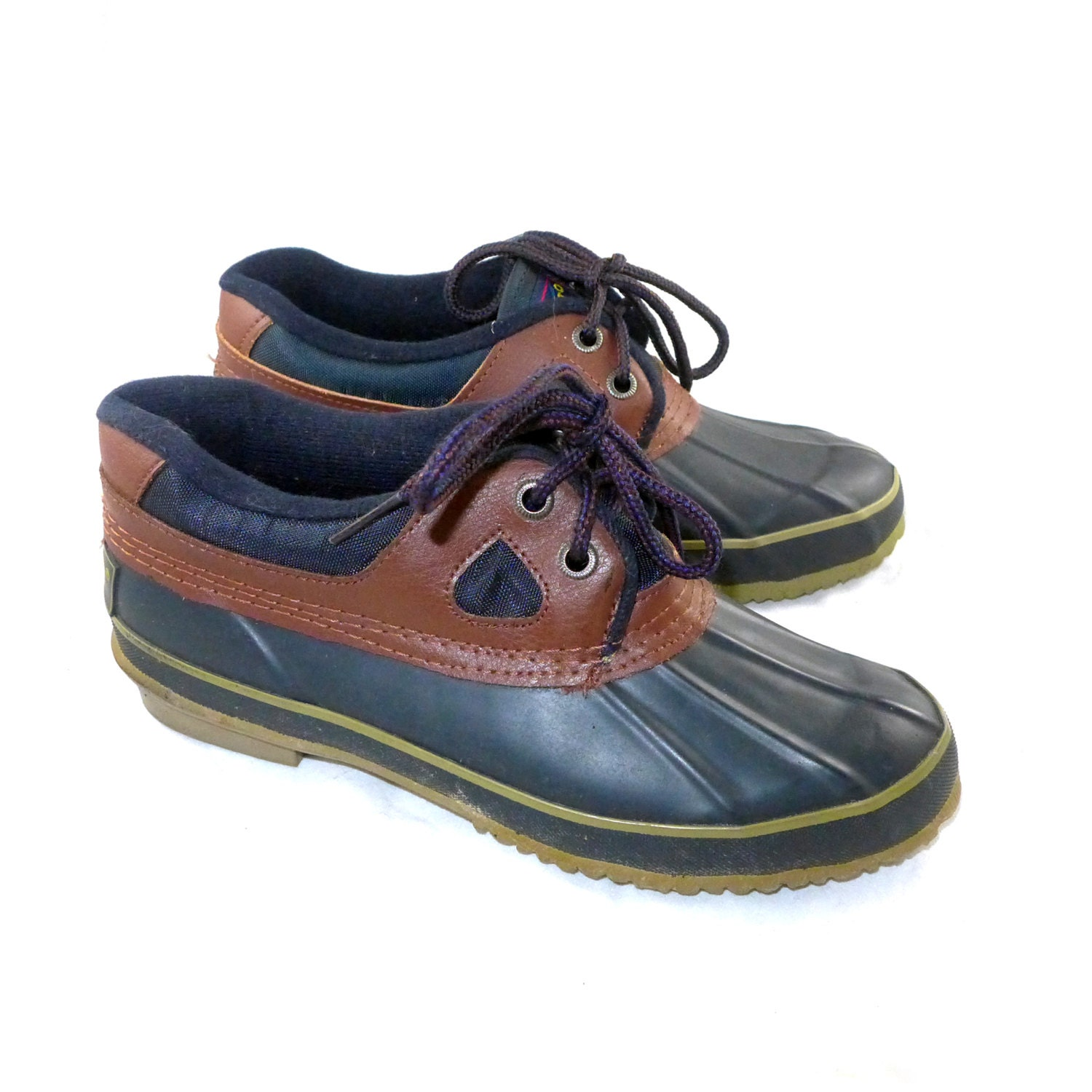 vintage and navy sporto duck boots leather