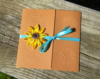 Sunflower invitations - teal and sunflower
