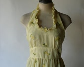 70s little yellow flowers cotton halter maxi dress with ruffle