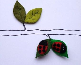 Pin Brooch Felt Ladybird Ladybug - choose your colour