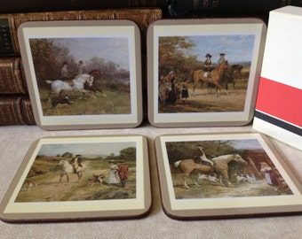 Pimpernel Cork Backed Coasters Made in England Set of 4 Equestrian Theme