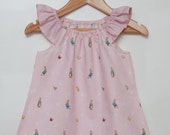 Girls Pink Peter Rabbit Peasant Dress with Pink Sleeves Size 12 months