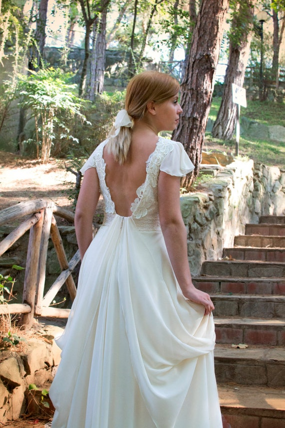 Grecian Long Wedding Gown Ivory-Cream Wedding Dress Lace and Chiffon  Bridal Gown - Handmade by SuzannaM Designs