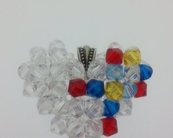 Autism Awareness Puzzle Ribbon Swarovski Crystal Puffy Heart Pendant