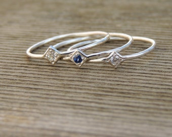 Delicate Thread of Gold or Silver Ring Set of 3- Ultra Tiny Precious Gem- Moissanite, Sapphire, Ruby or Black Spinel, Hand made custom Ring