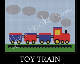 Toy Train - Afghan Crochet Graph Pattern Chart - Instant Download
