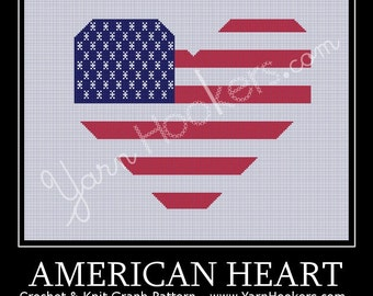 American Heart National Flag - Afghan Crochet Graph Pattern Chart - Instant Download