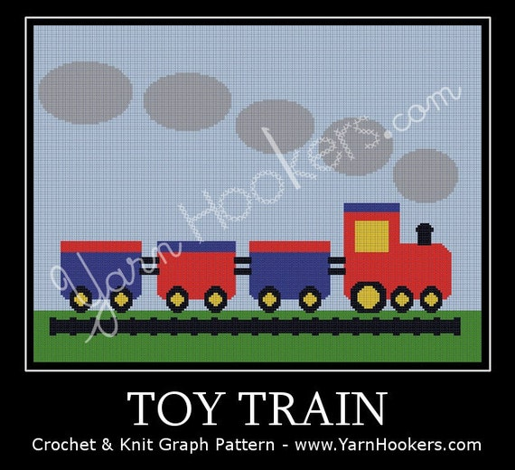 Knitting Pattern For Toy Train : Toy Train Afghan Crochet Graph Pattern Chart Instant