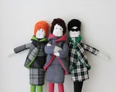 Custom elegant fabric doll, ooak retro stuffed doll, fashionable soft toy, tweed cloth doll, girl doll, beehive doll, unique kids decor gift