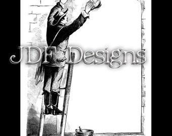 Instant Digital Download, Victorian Era Graphic, Sign Painter Frame Text Box, Printable Image, Scrapbook