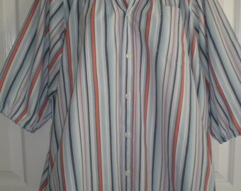 Peasant Blouse upcycled from a men's shirt 56 inch xxL blue orange stripe