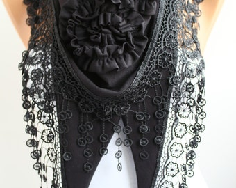 Black Rose Shawl Scarf - Jersey Scarf Headband Cowl Scarf with Lace Trim - Lace Scarf Gift - DIDUCI