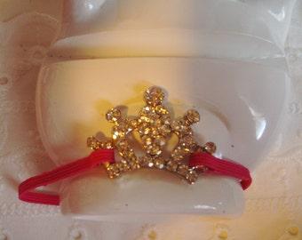 Princess Crown Bracelet - Stretch Bracelet - Pink Bracelet - Rhinestone Bracelet - Girl's Bracelet - Small Wrist Bracelet