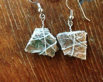 Dangling Mica Earrings, Hand Made from Mica Gathered in Colorado