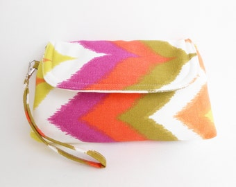 Purple Orange Kiwi Wristlet Clutch