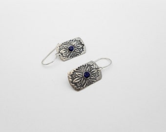 Silver and Sapphire Earrings, Silver Metal Clay Earrings, Gemstone Earrings, PMC Earrings, Sensitive Ears